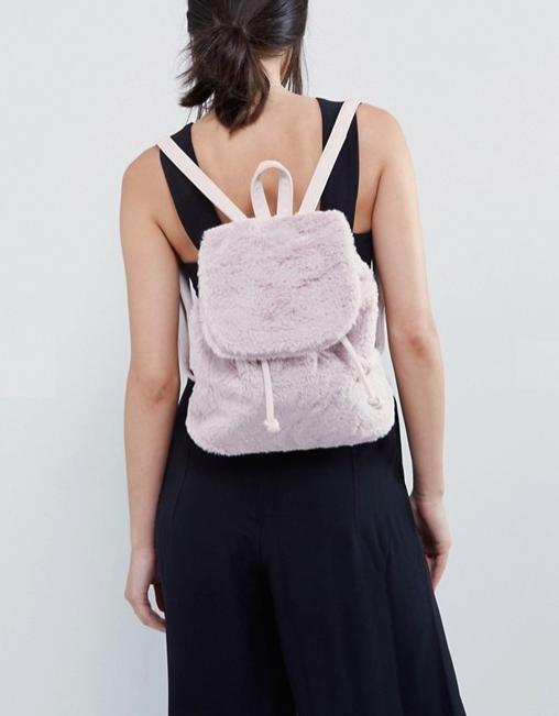 sac à dos fourrure rose