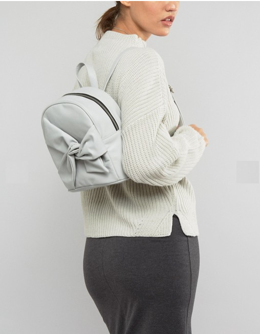 sac à dos beige noeud