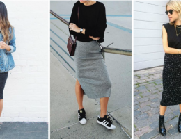 jupe crayon avec baskets