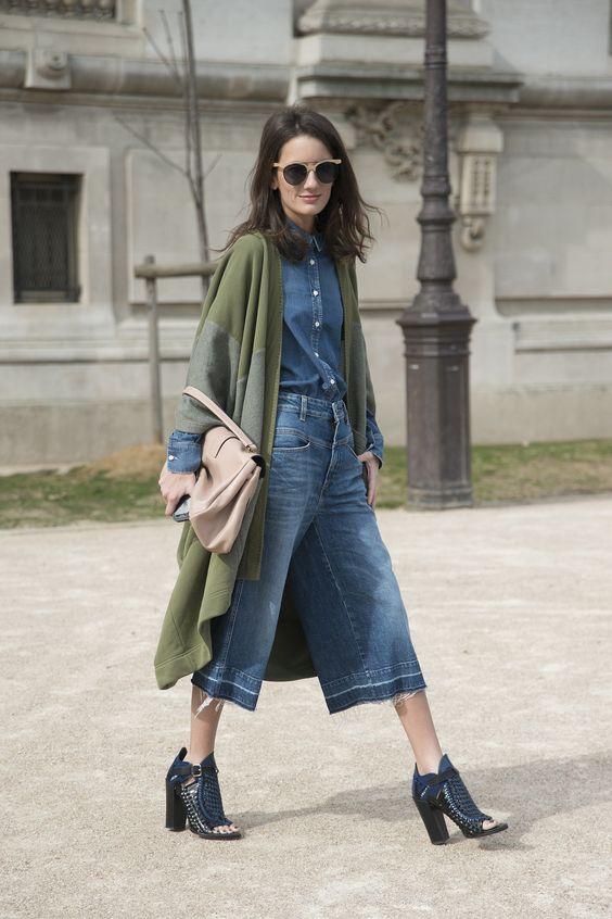 jupe culotte en jean