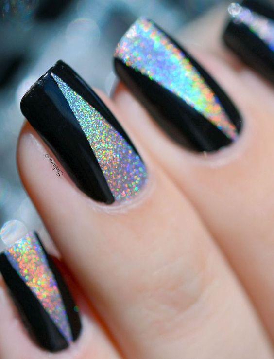 Nail art noir et halo