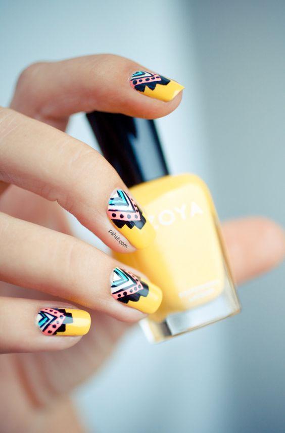 nail art été jaune