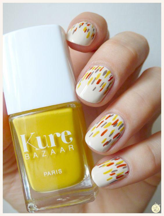 idée nail art blanc et couleurs été