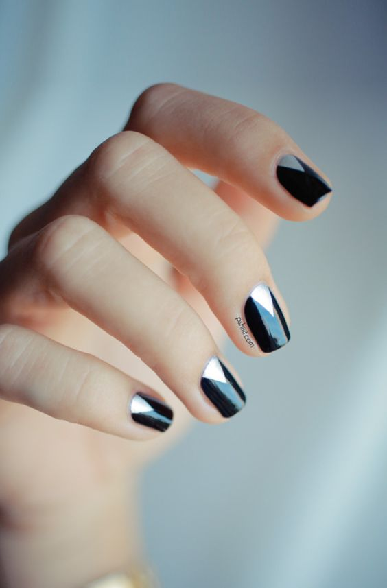 idée nail art noir et blanc
