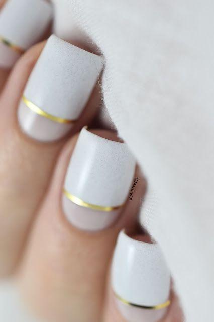 Nail art blanc et crème
