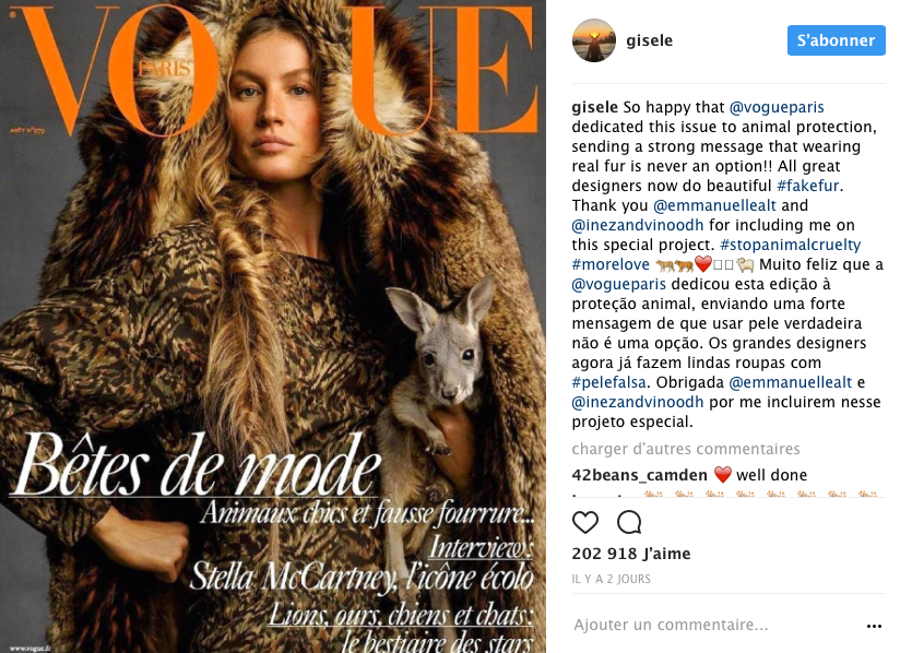 gisele bundchen vogue paris fourrure